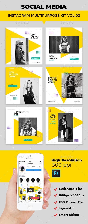Instagram Post Multipurpose Kit Vol.03 - Social Media Web Elements