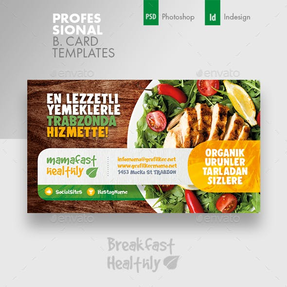 Healthy Food Business Card Templates