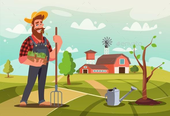 Gardener at Work Flat Vector Illustration - Flowers & Plants Nature