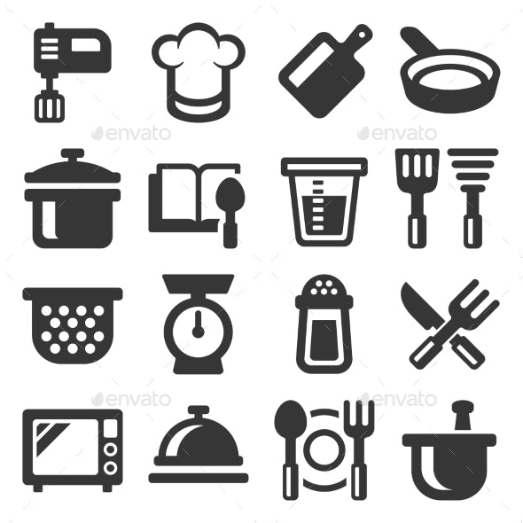 Kitchen and Cooking Icons Set on White Background - Food Objects