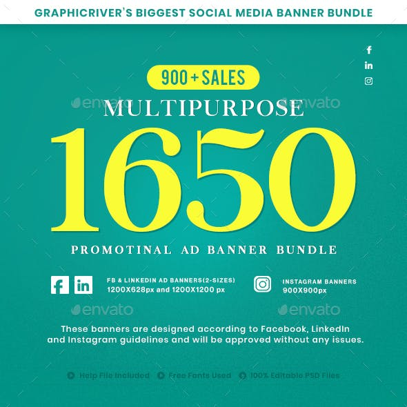 1650 Facebook & Instagram Ad Banners
