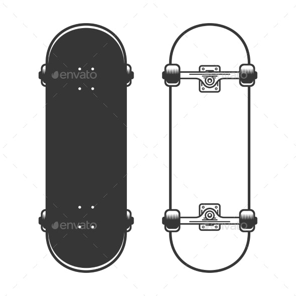 Old Skateboards Set on White Background - Miscellaneous Vectors