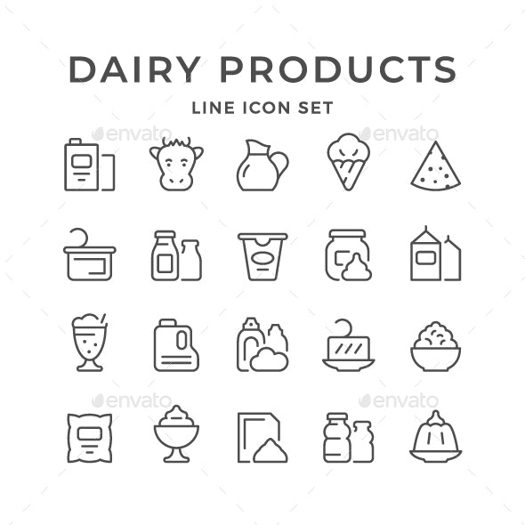Set Line Icons of Dairy Products - Man-made objects Objects