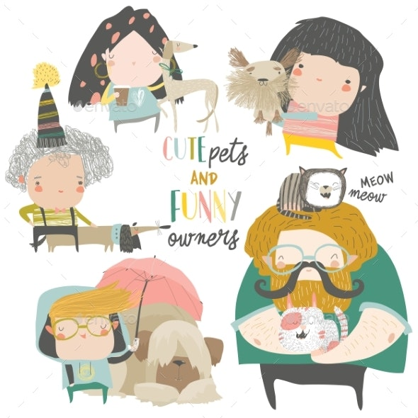 Pets with Their Owners - Animals Characters