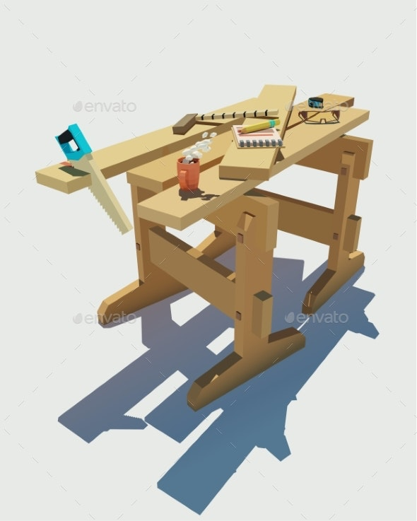 Vector Workplace of a Joiner Sawing Boards - Man-made Objects Objects
