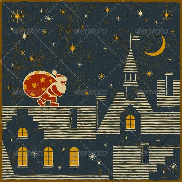 Santa On The Roof - Christmas Seasons/Holidays