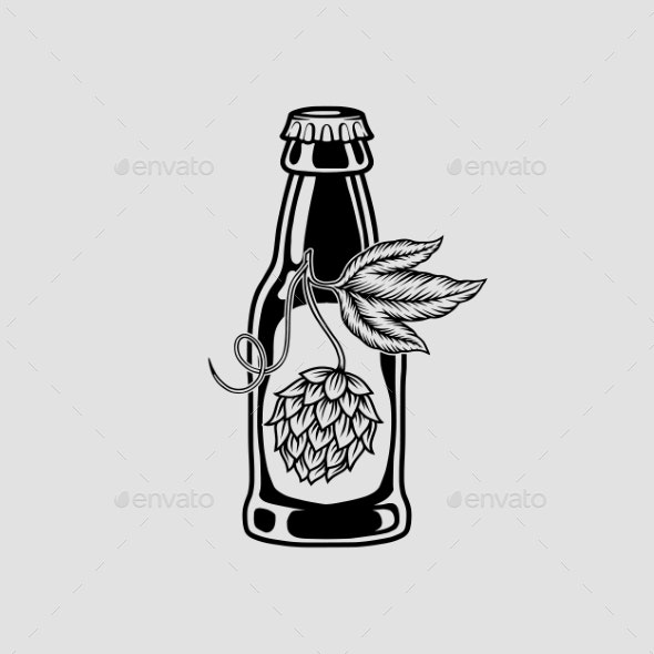 Beer and Hops Monochrome Isolated Icon - Miscellaneous Vectors