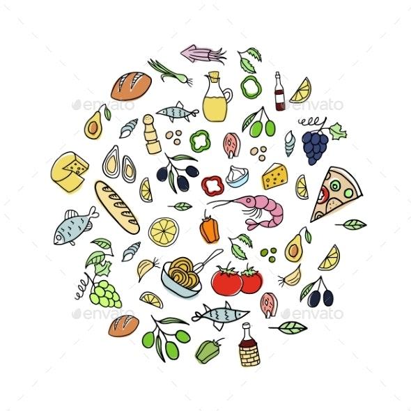 Set of Italian Cuisine Doodles - Food Objects