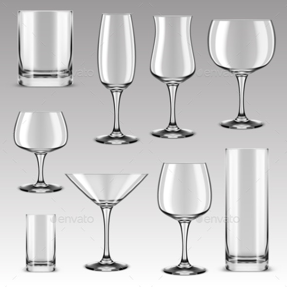 Set of Drinking Glass for Alcohol Beverage - Food Objects
