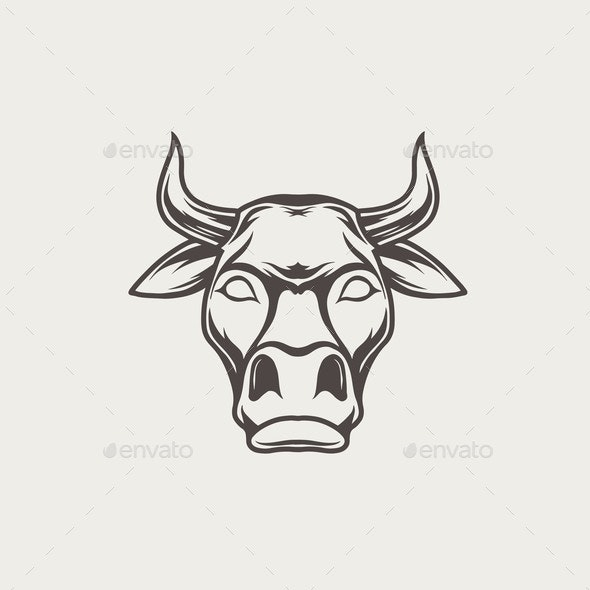 Black and White Bull Head - Animals Characters