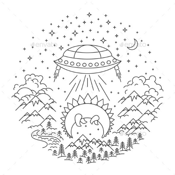 UFO Stealing Banner - Miscellaneous Vectors