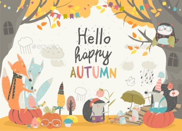 Animals Meeting Autumn in the Forest - Animals Characters