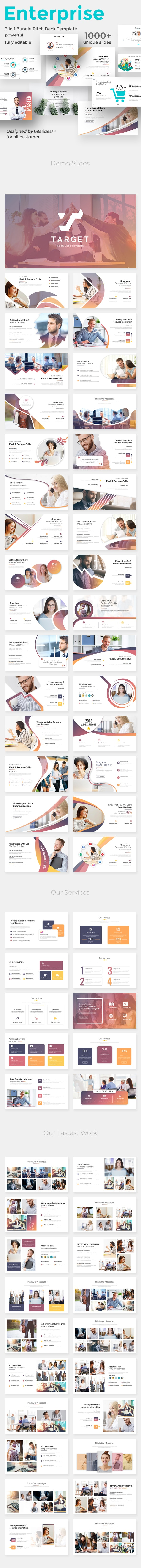 3 in 1 Creative and Business Enterprise Digital Bundle Powerpoint Pitch Deck Temlate - Creative PowerPoint Templates