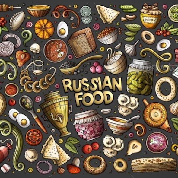 Vector Cartoon Set of Russian Food Objects