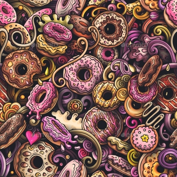 Cartoon Doodles Hand Drawn Donuts Seamless - Food Objects