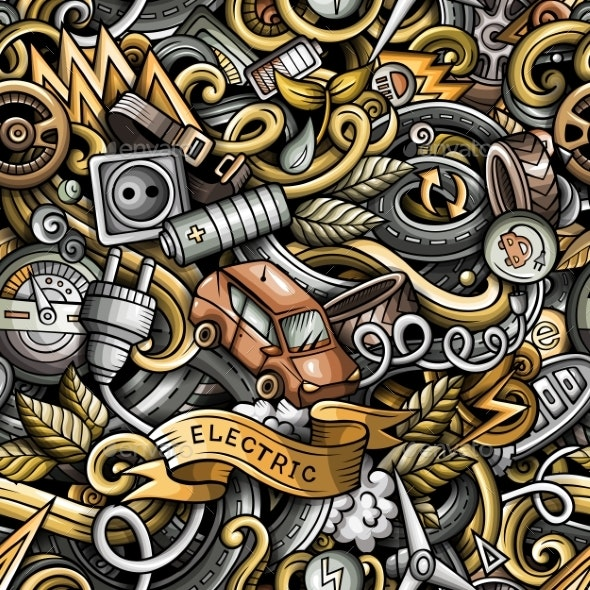 Cartoon Doodles Hand Drawn Electric Vehicle - Technology Conceptual