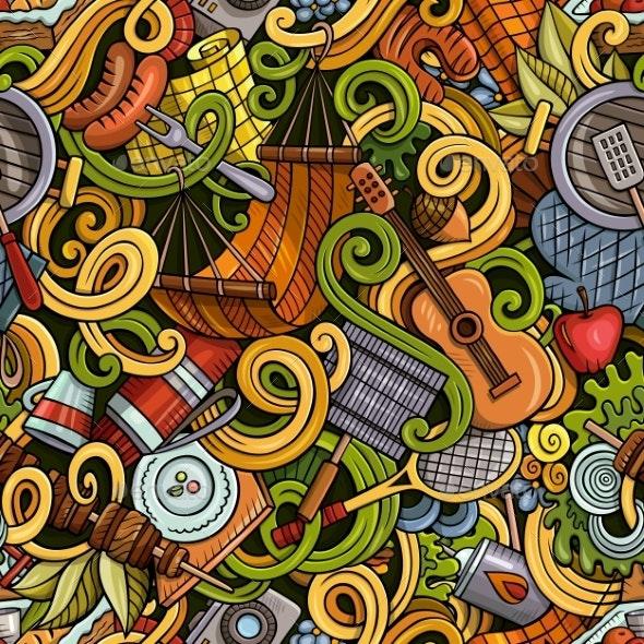 Cartoon Hand-Drawn Picnic Doodles Seamless Pattern - Landscapes Nature