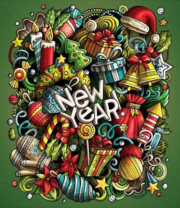 Cartoon Vector Doodles New Year Illustration - New Year Seasons/Holidays