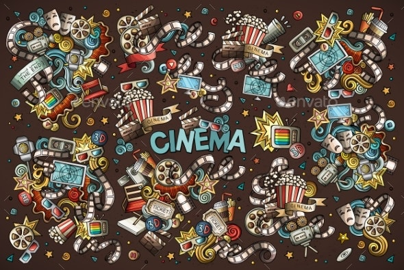 Colorful Vector Hand Drawn Cinema Doodle Cartoon - Man-made Objects Objects