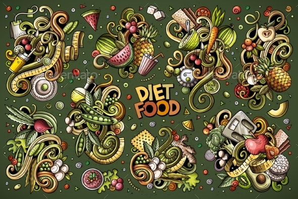 Vector Doodles Cartoon Set of Diet Food - Food Objects