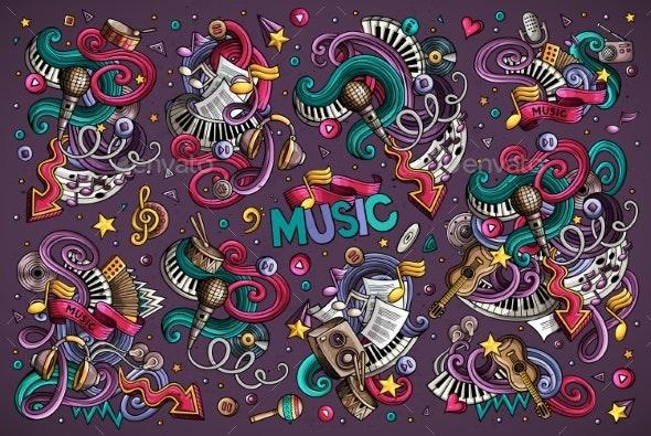 Vector Doodles Cartoon Set of Music Combinations - Media Technology