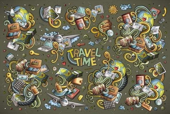 Vector Doodles Cartoon Set of Travel Combinations - Travel Conceptual
