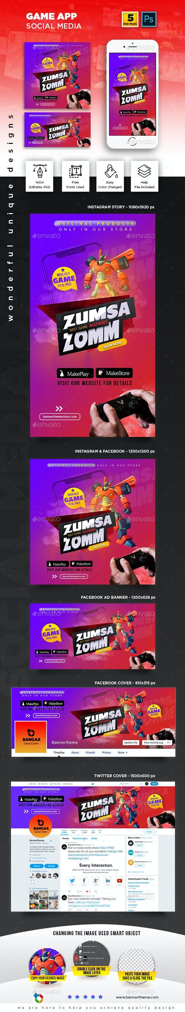 Game App Social Media Banner - Social Media Web Elements