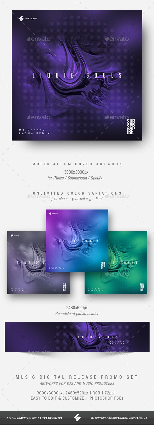 Liquid Souls - Minimal Album Cover Artwork Template - Miscellaneous Social Media