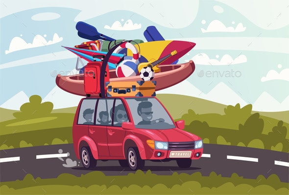 Summertime Road Trip Flat Vector Illustration - Sports/Activity Conceptual