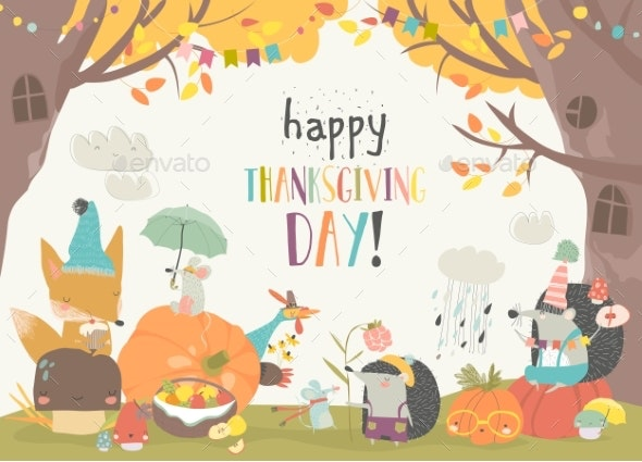Animals Celebrating Thanksgiving Day in the - Animals Characters