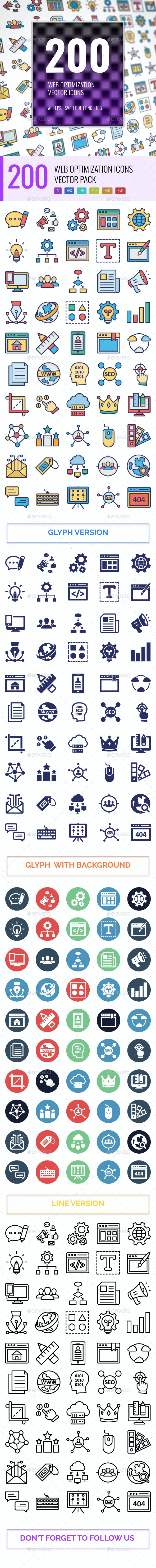 200 Web Optimization Vector Icons Pack - Icons