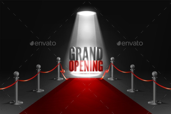 Grand Opening Event Banner in Spotlights - Miscellaneous Vectors