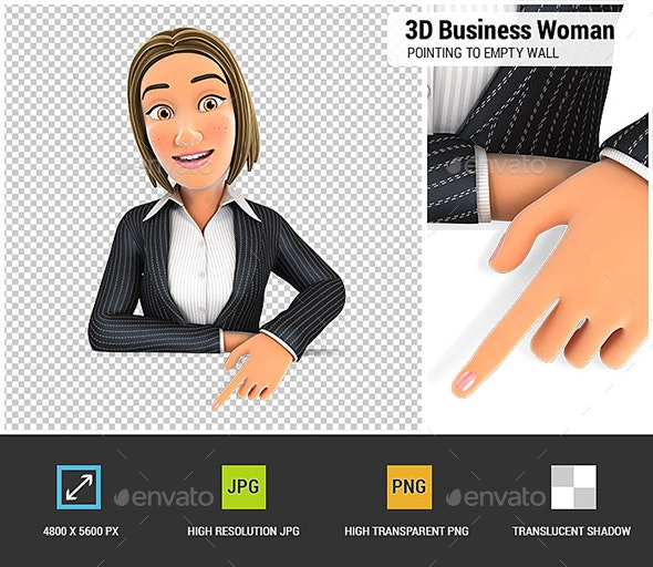 3D Business Woman Pointing to Empty Wall - Characters 3D Renders
