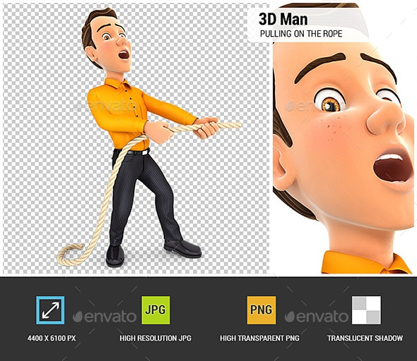 3D Man Pulling on the Rope - Characters 3D Renders