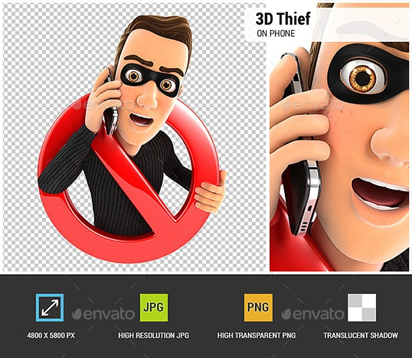 3D Thief on Phone Surrounded by a Forbidden Sign - Characters 3D Renders