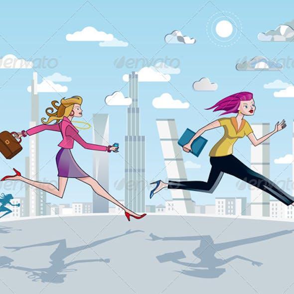 Businesswomen  Running And Skyscrapers