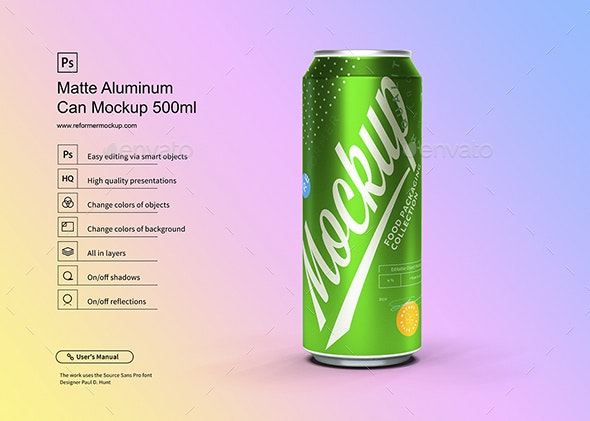 Matte Aluminum Can Mockup 500ml - Product Mock-Ups Graphics