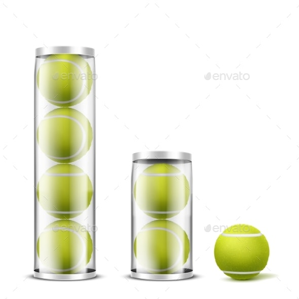 Tennis Balls in Plastic Cans Realistic Vector - Man-made Objects Objects