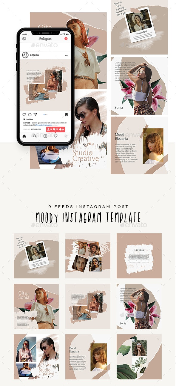 Moody Instagram Templates - Social Media Web Elements
