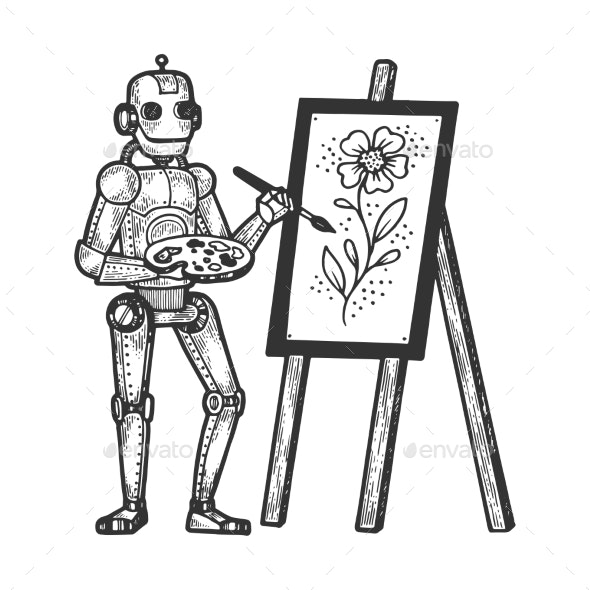 Robot Artist Painter Sketch Engraving - Miscellaneous Vectors