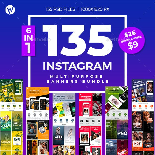135 Instagram Multipurpose Banners Bundle