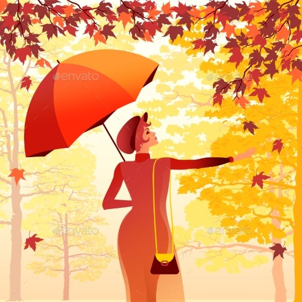 Girl with an Umbrella Walking in the Autumn Park