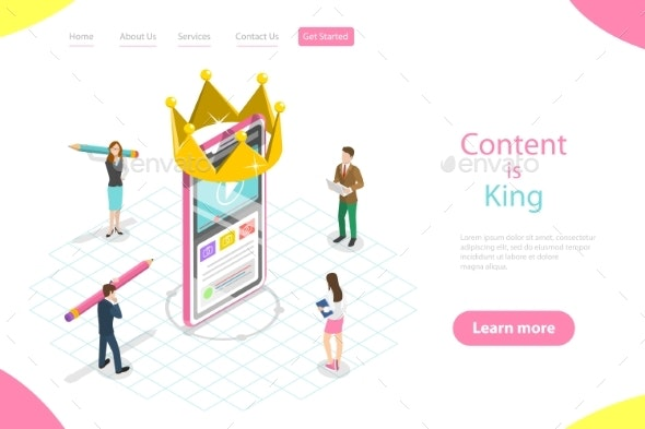 Isometric Flat Vector Landing Page Template - Miscellaneous Vectors
