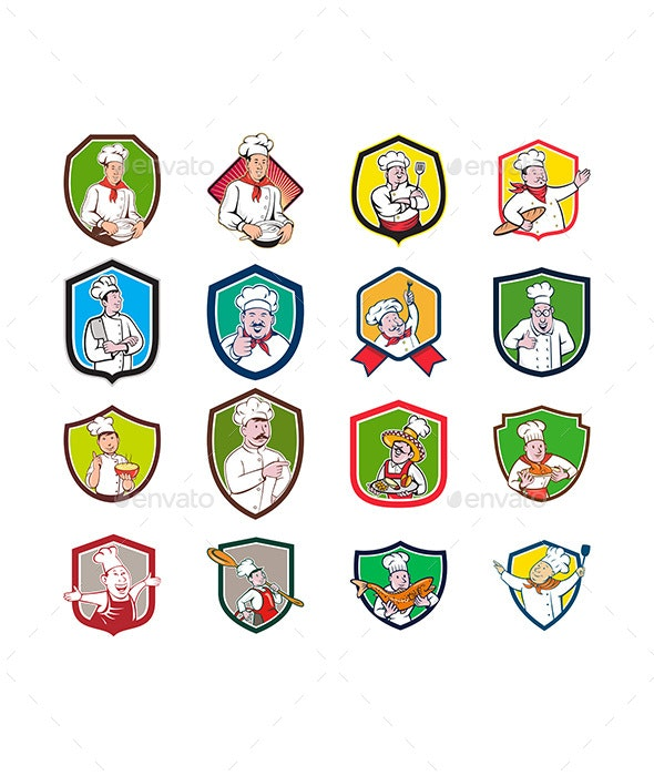 Chef Baker Cook Crest Cartoon Set - People Characters
