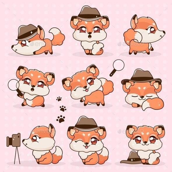 Set of Kawaii Fox Cartoons - Animals Characters