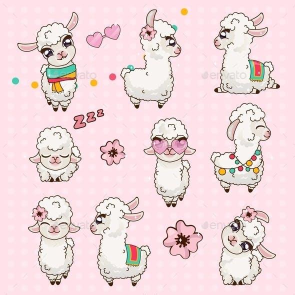 Llama Alpaca Vicuna Set Kawaii