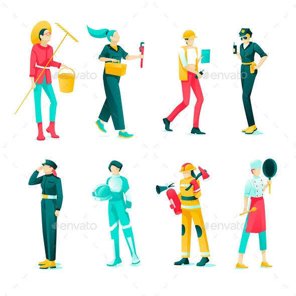 Collection of Female Professions - Concepts Business