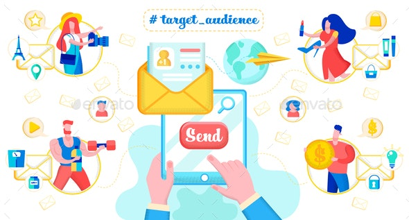 E-mail Messaging to Target Audience Vector Concept - Communications Technology