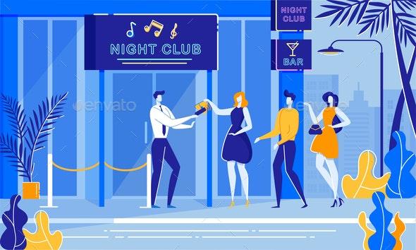 Party Night Security Bouncer Cheking Woman Handbag - Sports/Activity Conceptual
