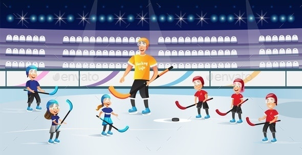 Boys and Girls Playing Hockey on Ice Rink Vector - Sports/Activity Conceptual